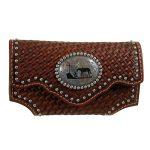 Brown Leather Tooled Basket Weave Praying Cowboy Phone Case n7462608