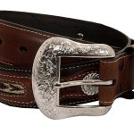 Mens Western Belt with Conchos and Fabric Inset by Nocona Belt Co.