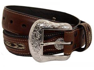 black-brown-fabric-inlay-concho-belt