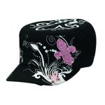 Womens Black_ White_ & Pink Fleur de Lis Military Hat 1502401