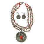 Blazin Roxx Red Stone Large Pendant Necklace and Earrings Set 30470