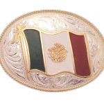 Justin Silver Mexican Flag Belt Buckle