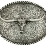 Montana Silversmiths Longhorn Classic Antiqued Attitude Belt Buckle 61