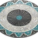 Black & Turquoise w/ Floral Tooling Belt Buckle 1309 by Crumrine