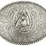 Montana Silversmiths Horse Head Horseshoe Classic Belt Buckle