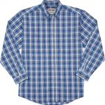 Wrangler Rugged Wear Long Sleeve Blue Plaid Shirt