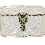 Black Inlay Longhorn Belt Buckle by Crumrine C10810