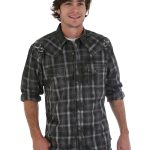 Mens Wrangler Rock 47 Black/Grey Long Sleeve Plaid Shirt ZDS