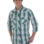 Men's Wrangler Blue/Green Western Fashion Long Sleeve Shirt MV1276M