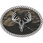 Deer Skull Belt Buckle with Mossy Oak Background