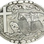 Antique Silver – Cowboy Praying Belt Buckle C15104