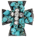 Turquoise Ring with Sparkling Rhinestones