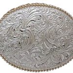 Silver Leaf Scroll Belt Buckle by Crumrine