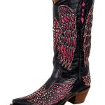 Womens Corral Black & Pink Winged Cross Boots With Studs & Crystals A