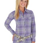 Womens Wrangler Rock 47 Purple/Black Plaid Top LJ742p ZDS