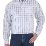 Men's George Strait White Striped Shirt by Wrangler