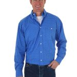 Wrangler George Straight Blue Long Sleeve Poplin Shirt MGS53