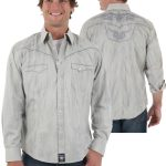Wrangler Western Rock 47 Grey Long Sleeve Poplin Shirt ZDS