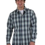 Wrangler Western Blue Long Sleeve Plaid Shirt MV126 ZDS