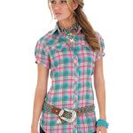 Wrangler Women's Pink Cap Sleeve Plaid Shirt LW112