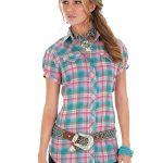 Wrangler Women's Pink Cap Sleeve Plaid Shirt LW112