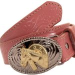 Girls Pink Belt with Floral Pattern by Nocona Belt Co